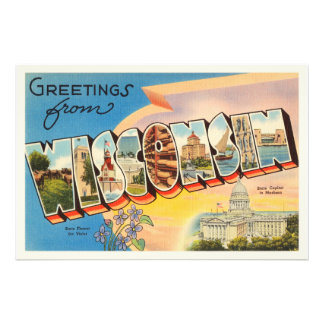State of Wisconsin WI Old Vintage Travel Souvenir Photo Print