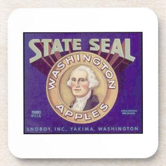 State Seal Washington Apples Drink Coasters