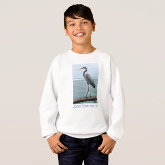 Stately Great Blue Heron Boys Sweat Shirt