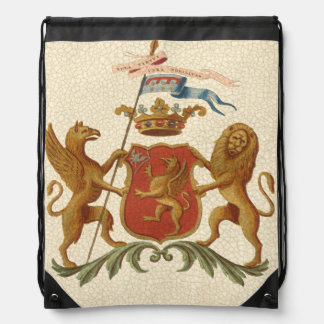 Stately Heraldic Badge with Griffin and Lion Drawstring Bag