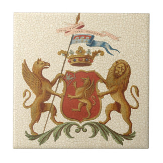 Stately Heraldic Badge with Griffin and Lion Tile