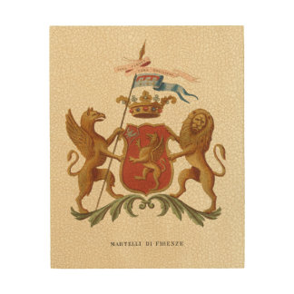 Stately Heraldic Badge with Griffin and Lion Wood Wall Decor
