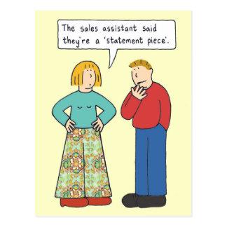 Statement piece trousers. postcard