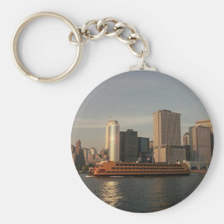 Staten Island Ferry & Twin Towers In Memoriam view Basic Round Button Key Ring