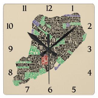Staten Island NYC Typography Map Clock