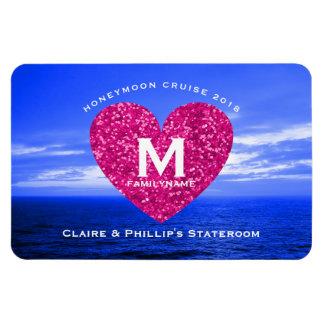 Stateroom Door Marker Honeymoon Cruise Pink Heart Magnet