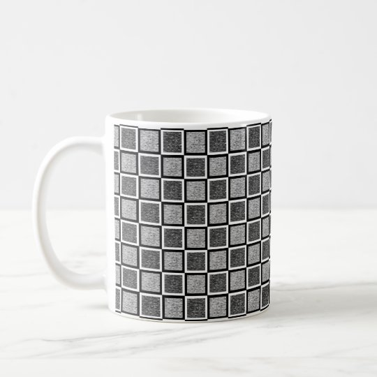 Static Black and White Squares Coffee Mug