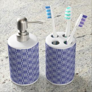 Static Blue and White Squares Bathroom Set