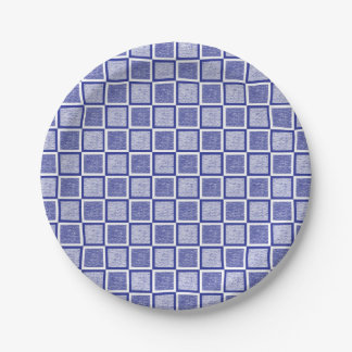 Static Blue and White Squares Paper Plate