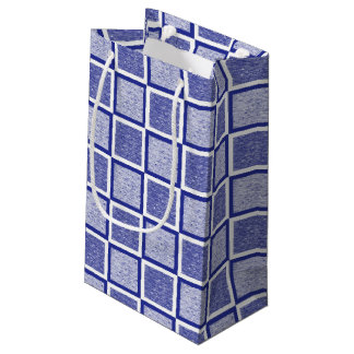 Static Blue and White Squares Small Gift Bag