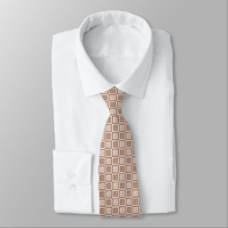 Static Brown and White Squares Tie