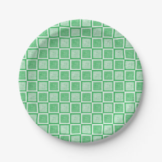Static Green and White Squares Paper Plate