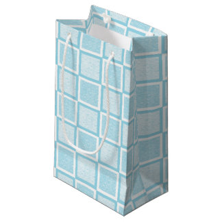 Static Pastel Blue and White Squares Small Gift Bag