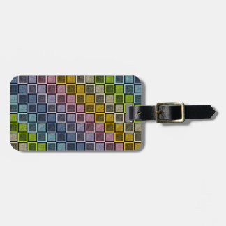 Static Pastel Rainbow Squares Black Luggage Tag