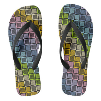 Static Pastel Rainbow Squares Black Thongs