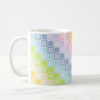 Static Pastel Rainbow Squares Coffee Mug