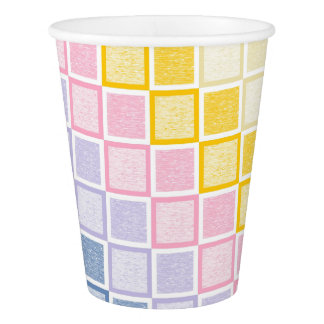 Static Pastel Rainbow Squares Paper Cup