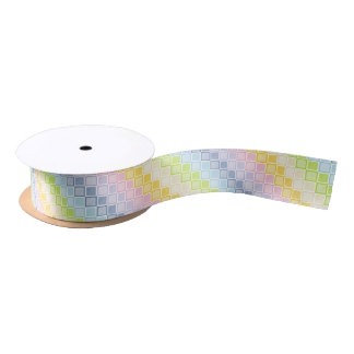 Static Pastel Rainbow Squares Satin Ribbon