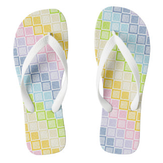 Static Pastel Rainbow Squares Thongs