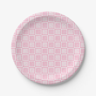 Static Pink and White Squares Paper Plate