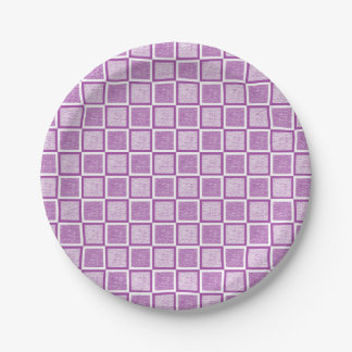 Static Purple and White Squares Paper Plate