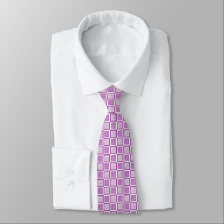 Static Purple and White Squares Tie