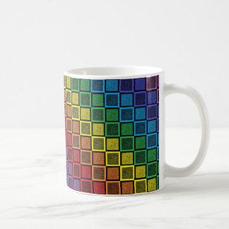 Static Rainbow Squares Black Coffee Mug