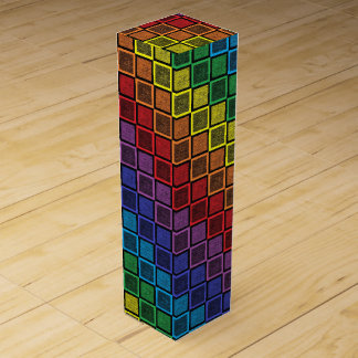 Static Rainbow Squares Black Wine Box