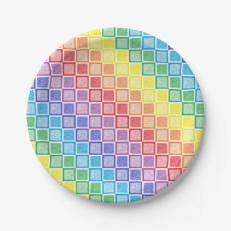 Static Rainbow Squares Paper Plate