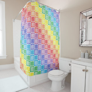 Static Rainbow Squares Shower Curtain