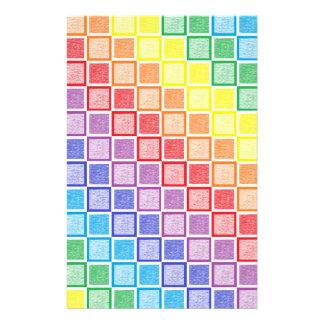 Static Rainbow Squares Stationery