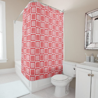 Static Red and White Squares Shower Curtain