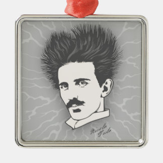 Static Tesla Silver-Colored Square Decoration