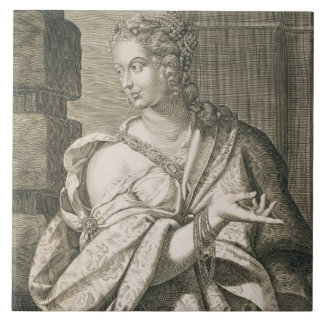 Statilia Messalina third wife of Nero (engraving) Large Square Tile