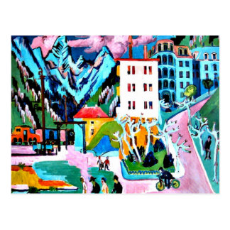 Station in Davos, Ernest Ludwig Kirchner painting Postcard
