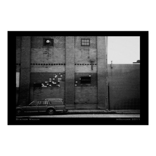Station Wagon Urban Industrial Cityscape Poster