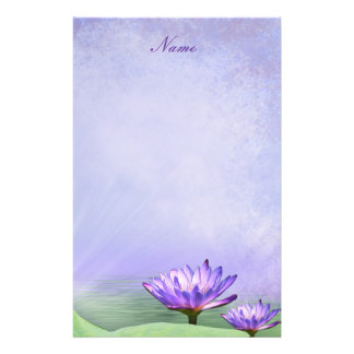 Stationery Purple Water Lily Flower