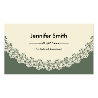 Statistical Assistant - Retro Chic Lace Business Card Templates