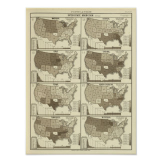Statistical United States lithographed maps Poster
