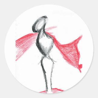Statua Pallid Red Round Sticker
