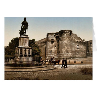 Statue and castle of King Rene, Angers, France cla Greeting Card