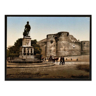 Statue and castle of King Rene, Angers, France cla Postcards