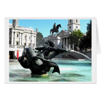 Statue and fountain in Trafalgar Square Greeting Card