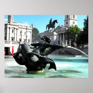 Statue and fountain in Trafalgar Square Posters