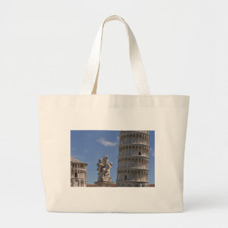 Statue and leaning Tower of Pisa Large Tote Bag