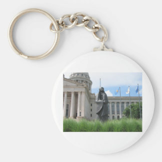 Statue At Oklahoma State Capital Basic Round Button Key Ring