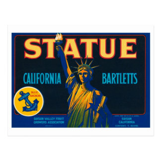 Statue California Bartletts Vintage Crate Label Postcard