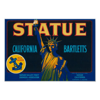 Statue California Bartletts Vintage Crate Label Poster