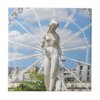 Statue depicting woman in Paris Small Square Tile