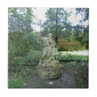 Statue of a Welsh Druid at Erddig Hall Small Square Tile